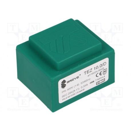 Transformateur moulé 400Vac / 24Vac 10VA 52x44x35mm