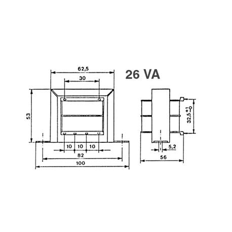 Transformateur 230Vac - 26VA 2x6Vac à étrier