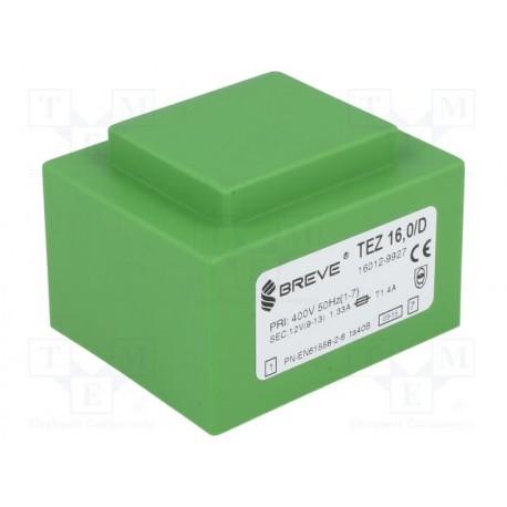 Transformateur moulé 400Vac / 12Vac 16VA 57x47x39mm