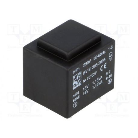 Transformateur moulé 230Vac / 2x18Vac 2,3VA