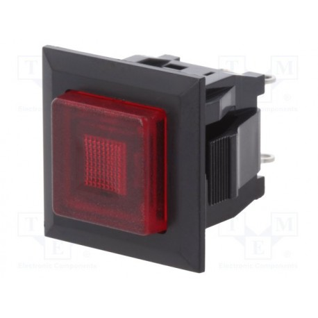 Interrupteur à poussoir SPST-NO Off / On 3Amp. carré dimensions d'ouverture 16x14mm avec témoin led rouge