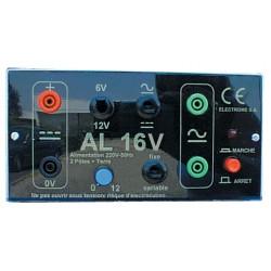 Alimentation de laboratoire 230Vac sorties 6/12V AC/DC 5 ampères et 0 à 12Vdc 5Amp.