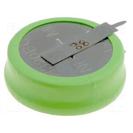 Accumulateur Ni-Mh 1,2V 320mA Ø 25x9mm 2 broches pour circuit imprimé