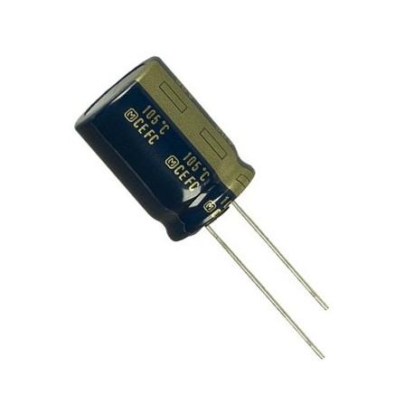 Condensateur chimique radial 105° 0,22µF 50V au pas de 2mm