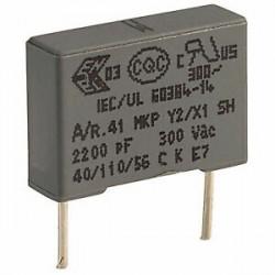 Condensateur Y2 300Vac / 1000Vdc MKT 2,2nF au pas de 10mm