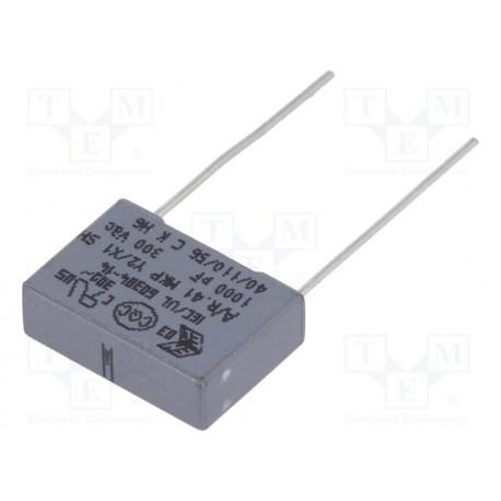 Condensateur Y2 300Vac / 1000Vdc MKT 1nF au pas de 10mm