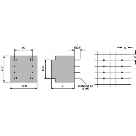 Transformateur moulé 230Vac / 12Vac 0,5VA