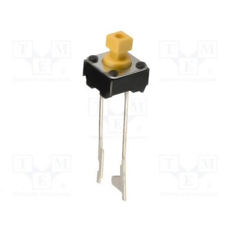 Touche contact miniature 6x6mm SPST-NO 2 broches au pas de 5mm hauteur 7mm