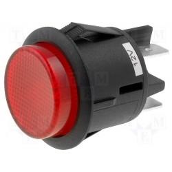 Interrupteur à poussoir bipolaire de tableau rouge 12Vdc 20Amp. à voyant led 12Vdc Ø de perçage 25mm