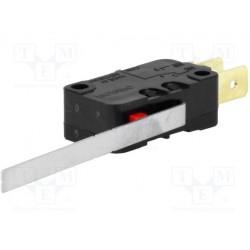 Microswitch avec levier 50mm sorties sur cosses de 6,35mm