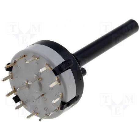 Commutateur rotatif  3 circuits / 4 positions pour circuit imprimé
