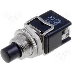 Poussoir de tableau N/O noir 12mm à vis