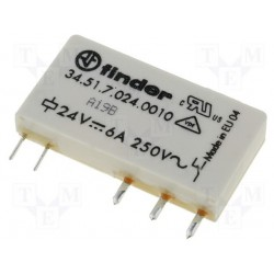 Relais Finder type 3451 1R/T 24Vdc 6Amp. 3350ohms