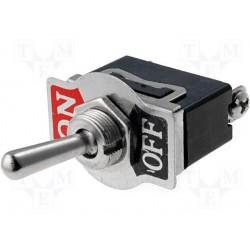 Interrupteur unipolaire à levier on / off 16amp. 250V Ø de perçage 12mm