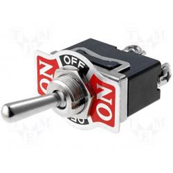 Inverseur unipolaire à levier on / off / on 16Amp. 250V Ø de perçage 12mm