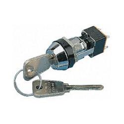 Contact à clé 2 positions 2 contacts inverseurs repos / travail perçage 19mm