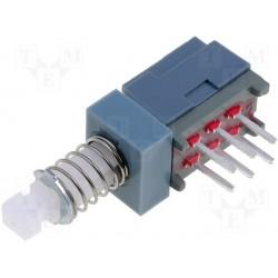 Inverseur à poussoir coudé pour circuit imprimé on / on