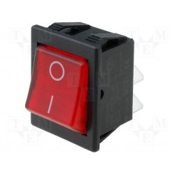 Inter bascule bipolaire lumineux 85° 230Vac rouge dimensions d'ouverture 30x22mm