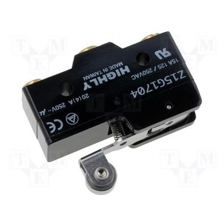 Microswitch à levier + roulette 15Amp. 250Vac