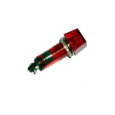 Voyant carré 12mm 230Vac rouge  Ø perçage 10mm