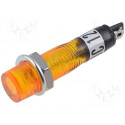 Voyant rond 9,5mm 12V orange Ø perçage 7,5mm