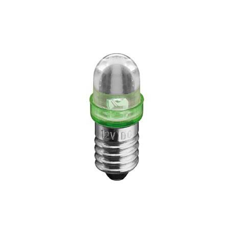 Ampoule E10 led 12Vdc verte 20500mcd 29x11mm