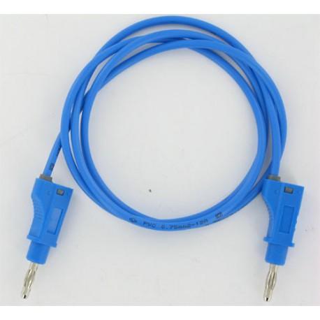 Cordon labo. à reprise D4mm bleu 1 mètre