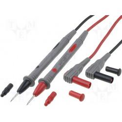Paire de cordon de mesure rouge et noir pointes de touche 2mm 10Amp. 1000V longueur 1,2 mètre