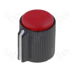 Bouton pour potentiomètre axe 6mm 13x15mm rouge serrage à vis