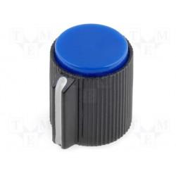Bouton pour potentiomètre axe 6mm 13x15mm bleu serrage à vis