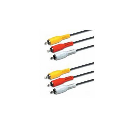 Cordon 3 fiches RCA mâle / mâle jaune - rouge - blanc 5 mètres