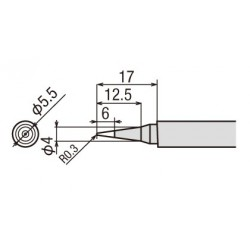 Panne pour fer à souder Goot TQ77 et 95 conique 0,3mm
