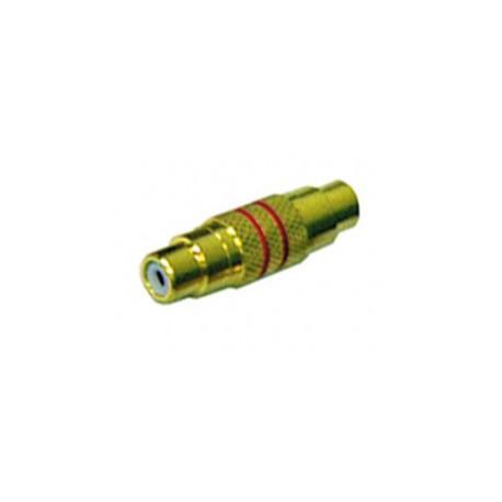 Adaptateur RCA femelle / femelle doré rouge