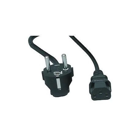 Cordon secteur IEC / 2p+t 3x1mm² noir longueur 2,5 mètres droit
