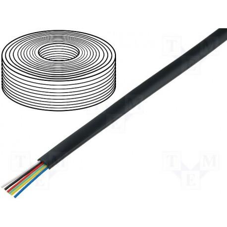 Câble plat AWG26 6cdts RJ12 noir