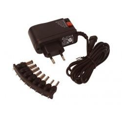 Bloc alimentation secteur 100 à 240Vac sortie réglable de 3 à 12Vdc 1,5Amp. 10W avec 8 embouts