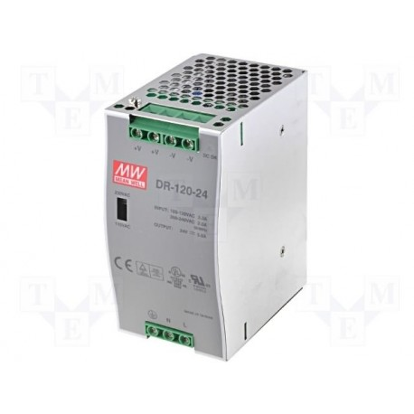 Alimentation Mean-Well pour rail-din 120W - 88/264Vac - 24Vdc - 5Amp.