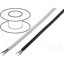 Câble secteur gainé PVC plat 3,1 x 5,1mm souple 2x0,75mm² noir