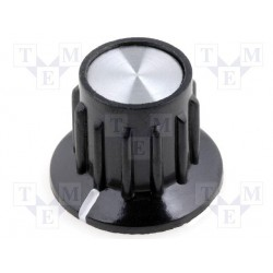 Bouton potentiomètre 15mm noir à vis + index
