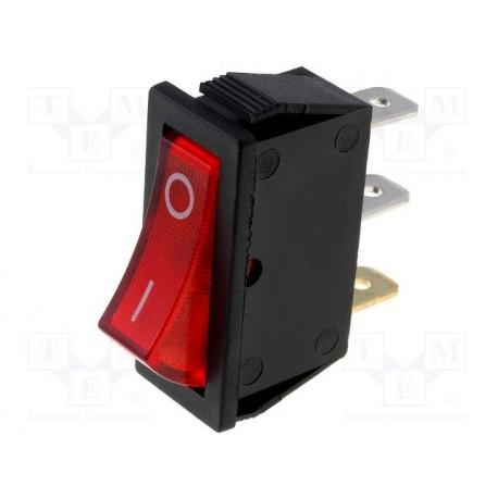 Inter à bascule unipolaire lumineux 230V rouge découpe 30x11mm