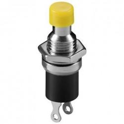 Bouton poussoir Ø perçage 6mm N/O contact travail jaune