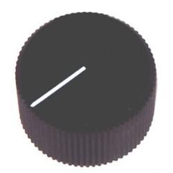Bouton potentiomètre 28mm noir à vis + index