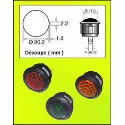 Voyant néon rond 230Vac 23mm vert