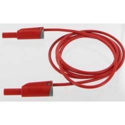 Cordon de laboratoire de sécurité avec fiche à reprise 4mm rouge longueur 2 mètres