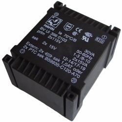 Transformateur moulé 2x115V / 2x15V 30VA