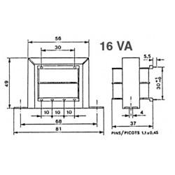 Transformateur 230V - 16VA 2x15V à étrier