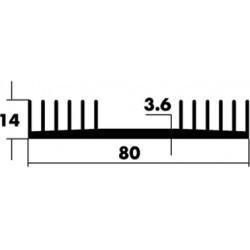 Dissipateur anodisé 80x14x75mm percà© 1 TO3