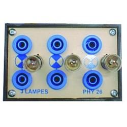 Boitier support pour 3 ampoules miniatures 6V différentes
