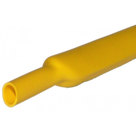 Gaine thermorétractable 2,4mm jaune - longueur de 1 mètre