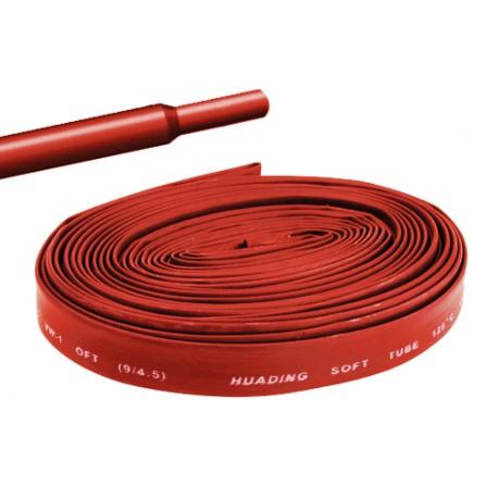 Gaine thermorétractable 9,5mm rouge - longueur de 1 mètre